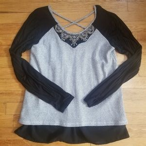 Maurices XL Balck And White Blouse